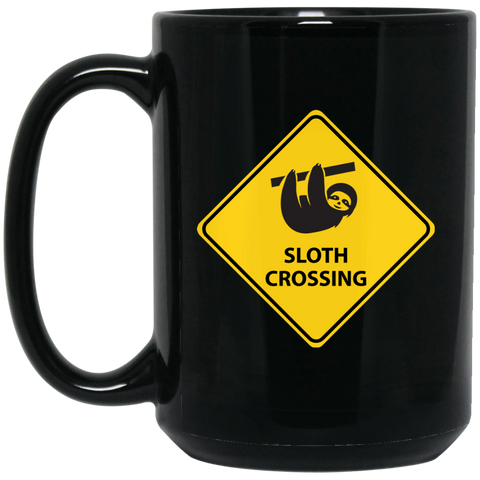 Sloth Crossing 15 oz. Black Mug