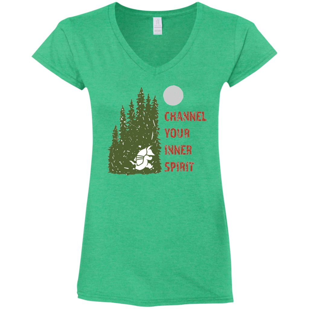Armadillo - Channel Your Inner Spirit Ladies' Fitted Softstyle 4.5 oz V-Neck T-Shirt - Ultrakoala Trial, Hiking, Biking and Camping Gear