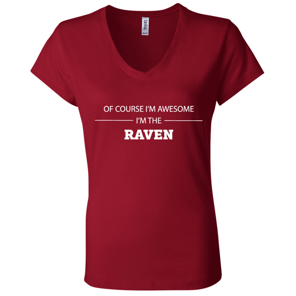 Awesome Raven - Ladies' Jersey V-Neck T-Shirt - Ultrakoala Trial, Hiking, Biking and Camping Gear