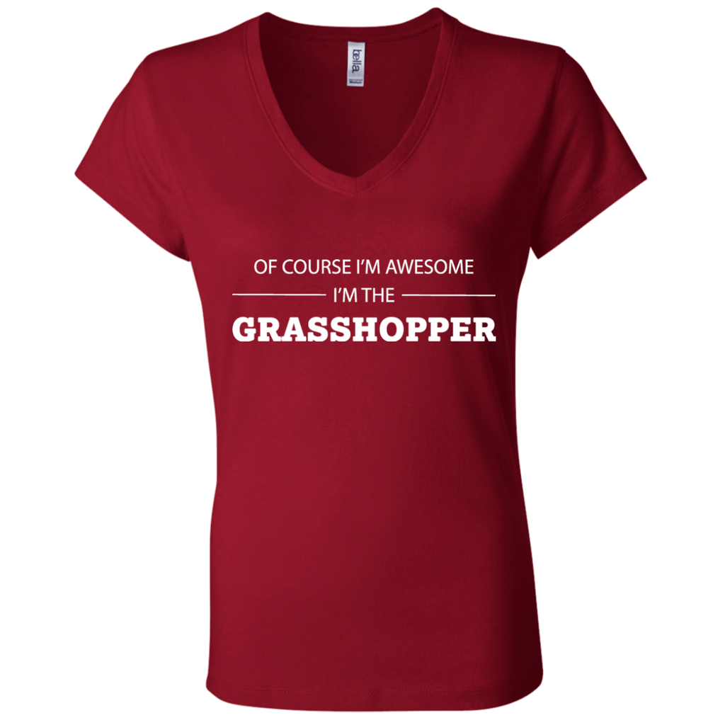 Awesome Grasshopper - Ladies' Jersey V-Neck T-Shirt - Ultrakoala Trial, Hiking, Biking and Camping Gear