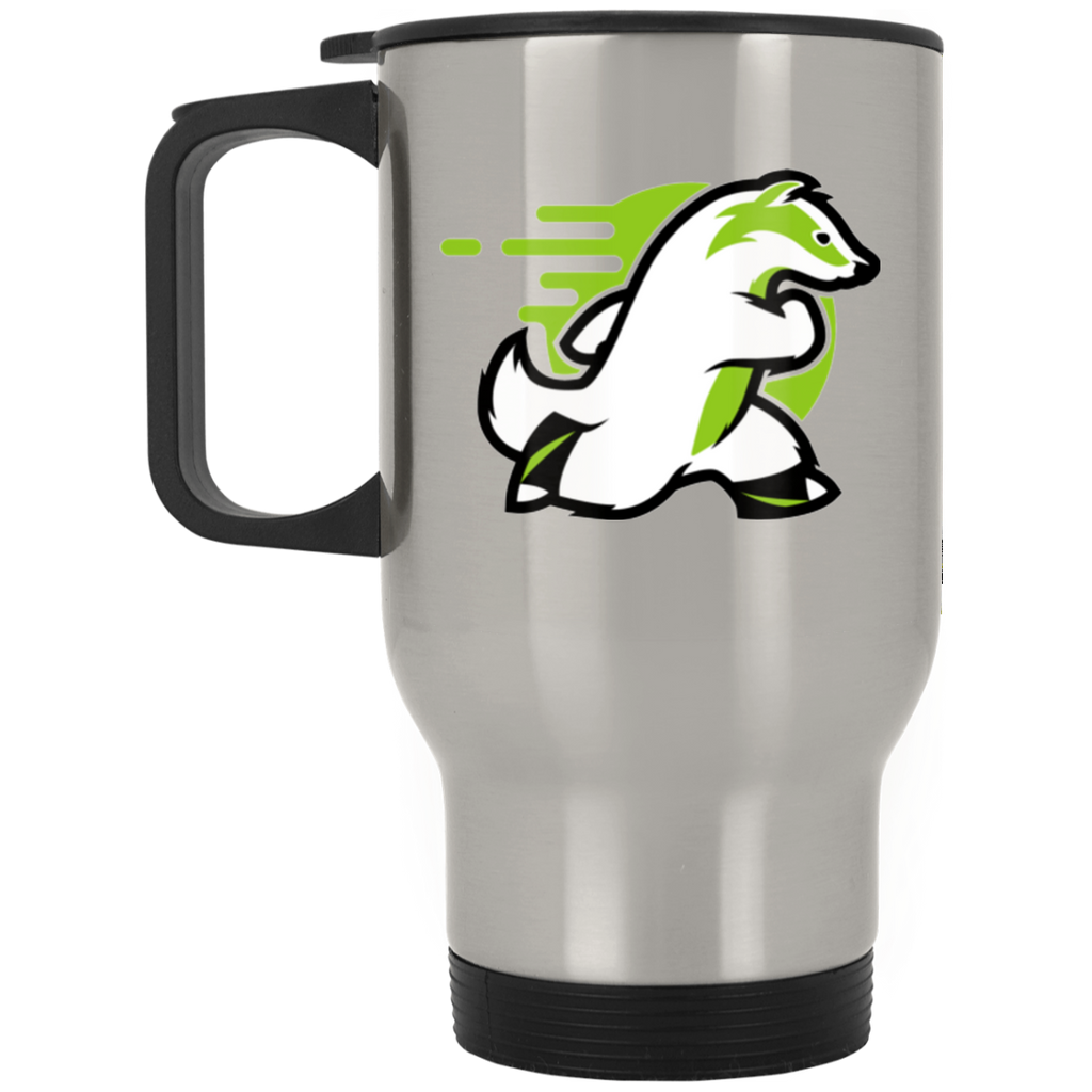 Badger - Silver Stainless 14oz Travel Mug - Ultrakoala Trial, Hiking, Biking and Camping Gear