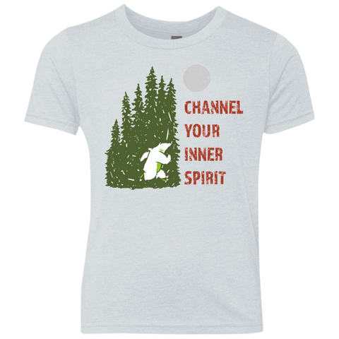 Bear - Channel Your Inner Spirit Boys Triblend Crew - Ultrakoala Trial, Hiking, Biking and Camping Gear