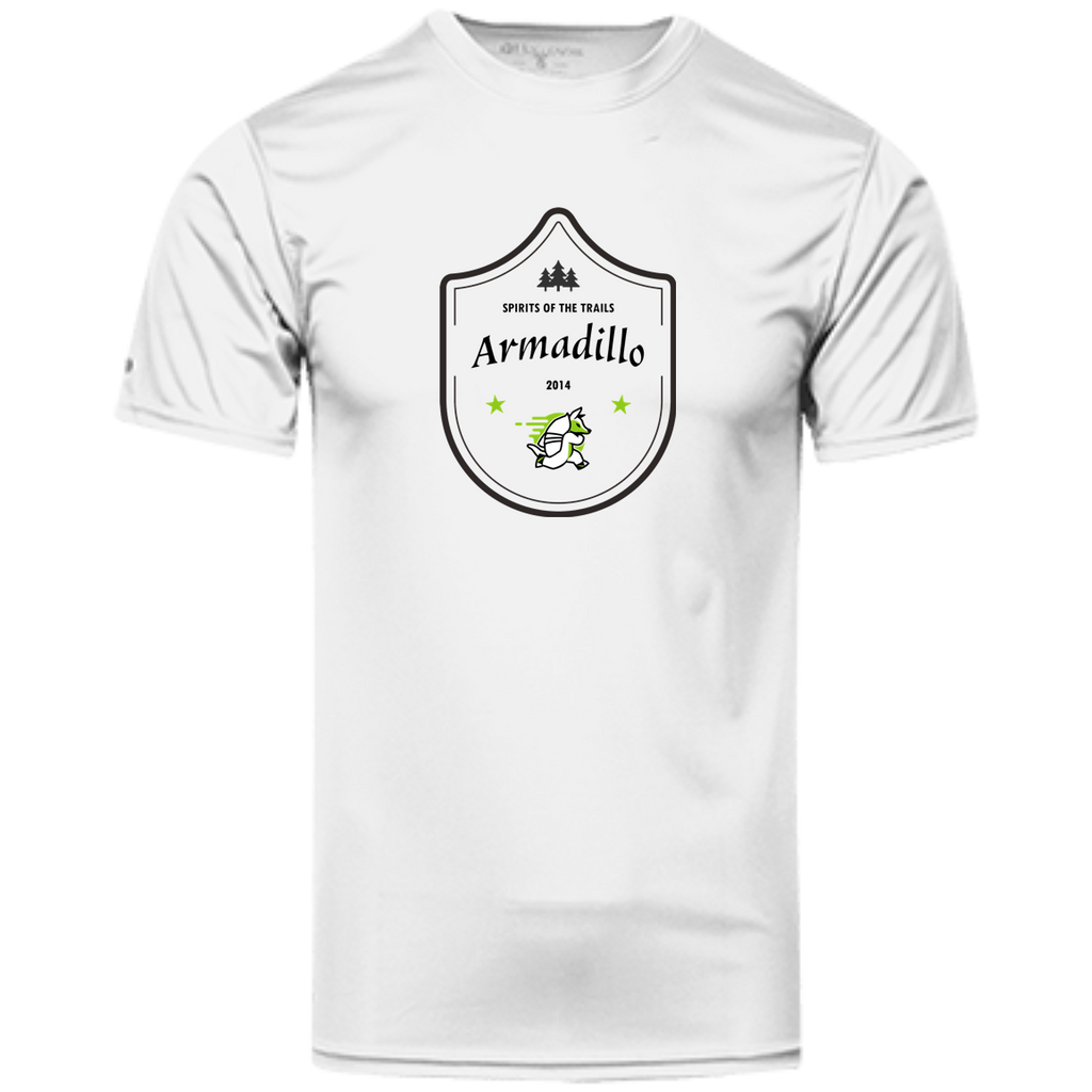 Armadillo Medallion - Men's100% Dry-Excel™ Wicking Polyester T-Shirt - Ultrakoala Trial, Hiking, Biking and Camping Gear