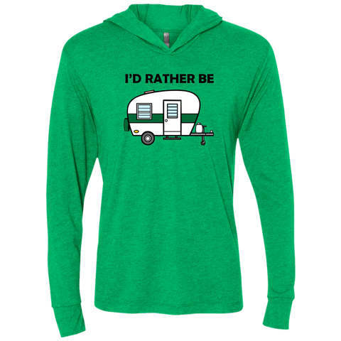 I'd Rather Be Camping - Men's Triblend LS Hooded T-Shirt - Ultrakoala Trial, Hiking, Biking and Camping Gear