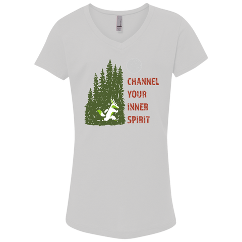 Fox - Channel Your Inner Spirit Girls' Princess V-Neck T-Shirt - Ultrakoala Trial, Hiking, Biking and Camping Gear
