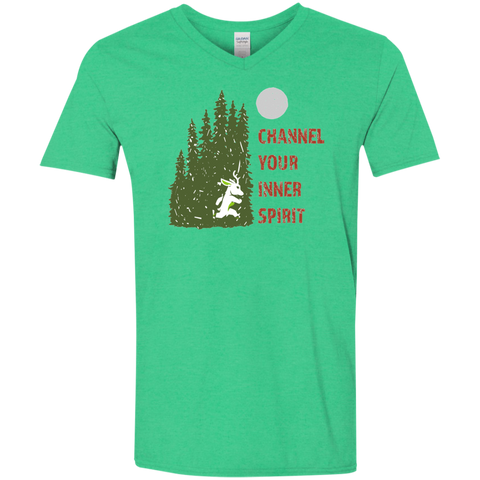 Deer - Channel Your Inner Spirit Men's Softstyle 4.5 oz V-Neck T-Shirt - Ultrakoala Trial, Hiking, Biking and Camping Gear