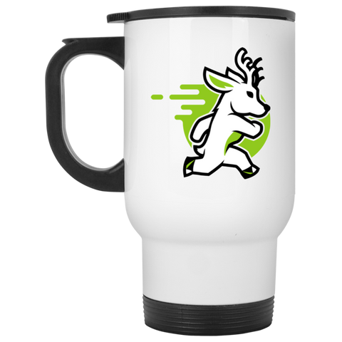 Deer - White 14oz Travel Mug - Ultrakoala Trial, Hiking, Biking and Camping Gear