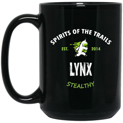 Lynx - Medallion15 oz. Black Mug - Ultrakoala Trial, Hiking, Biking and Camping Gear