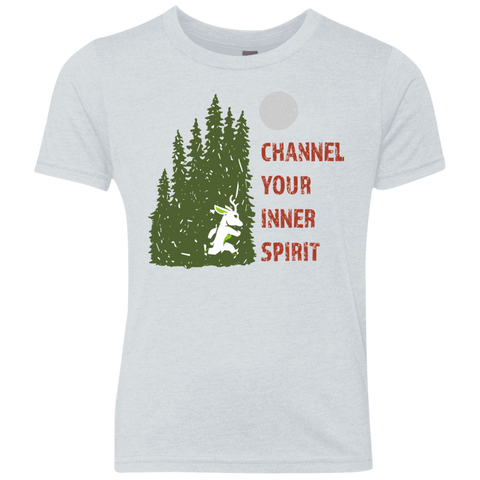 Deer - Channel Your Inner Spirit Boys Triblend Crew - Ultrakoala Trial, Hiking, Biking and Camping Gear