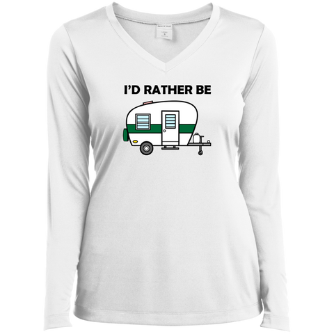 I'd Rather Be Camping - Ladies' LS Performance V-Neck T-Shirt - Ultrakoala Trial, Hiking, Biking and Camping Gear