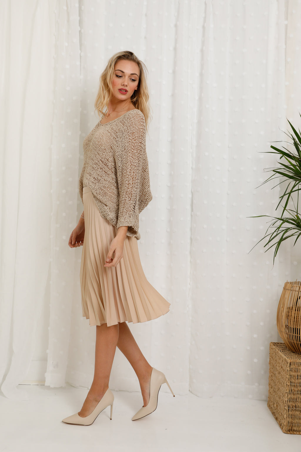 Ray Pleat Midi Skirt Biscuit