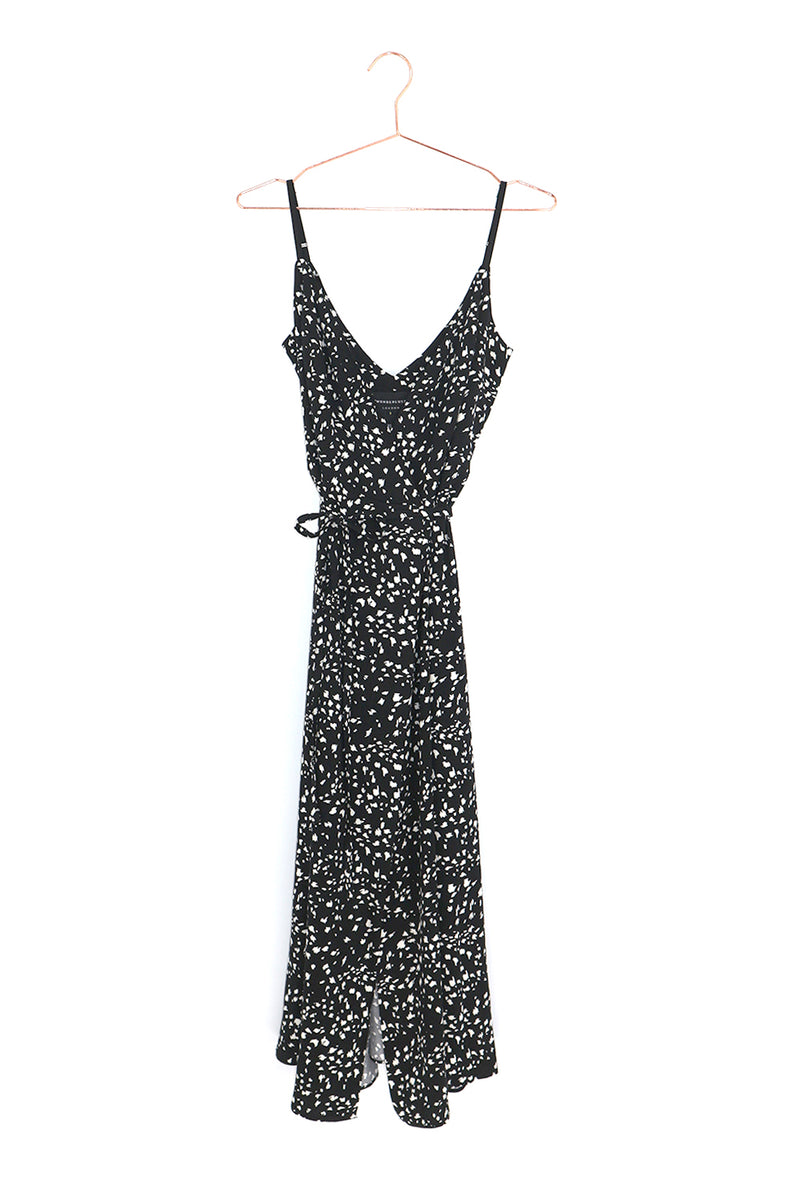 Carrie Wrap Dress Black Dalmatian