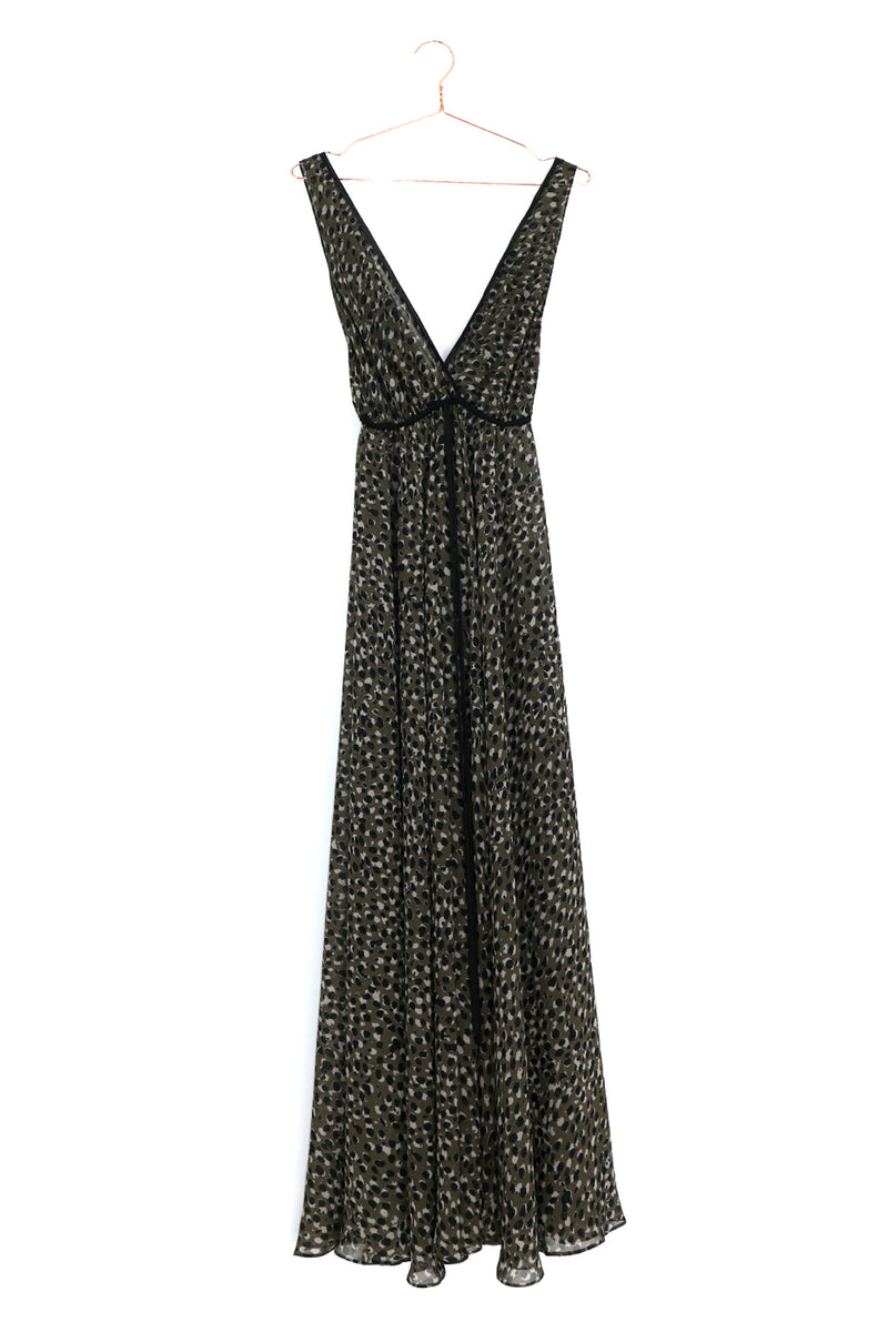 Khaki Pebble Print Lucie Dress