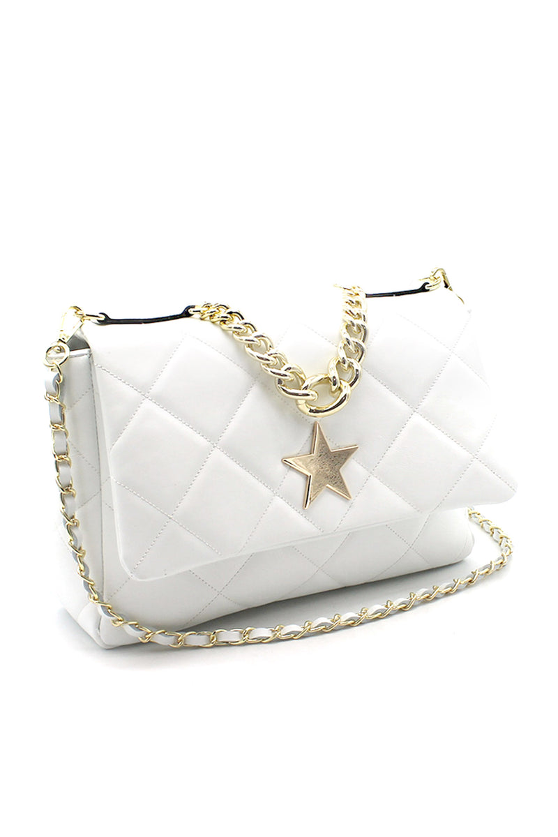 Star Quilted  Leather Shoulder Bag