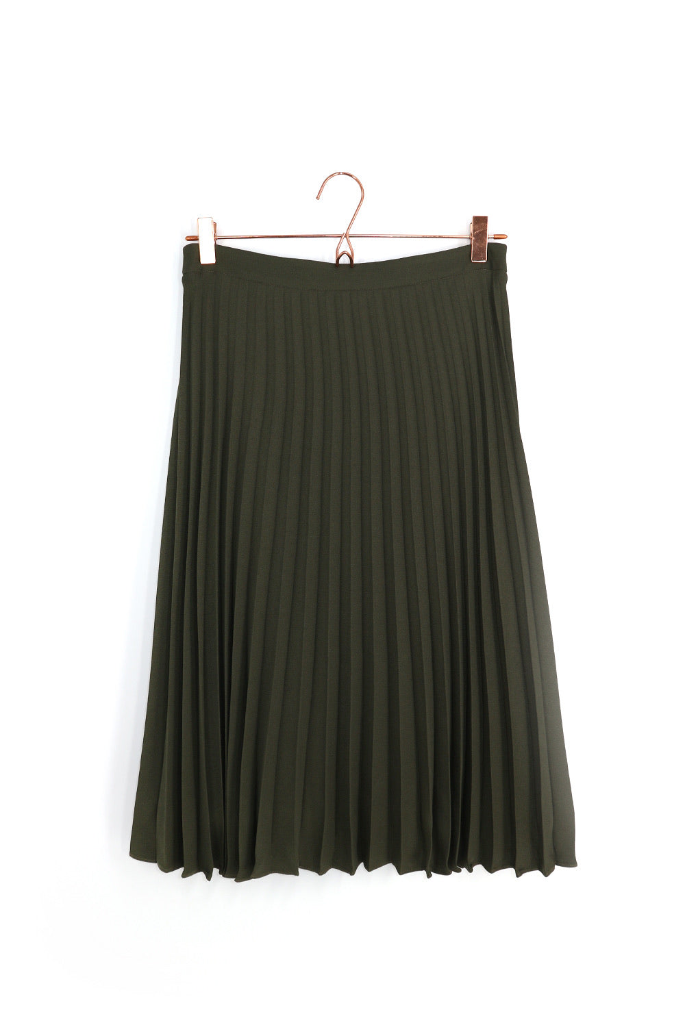 Ray Pleat Midi Skirt Khaki