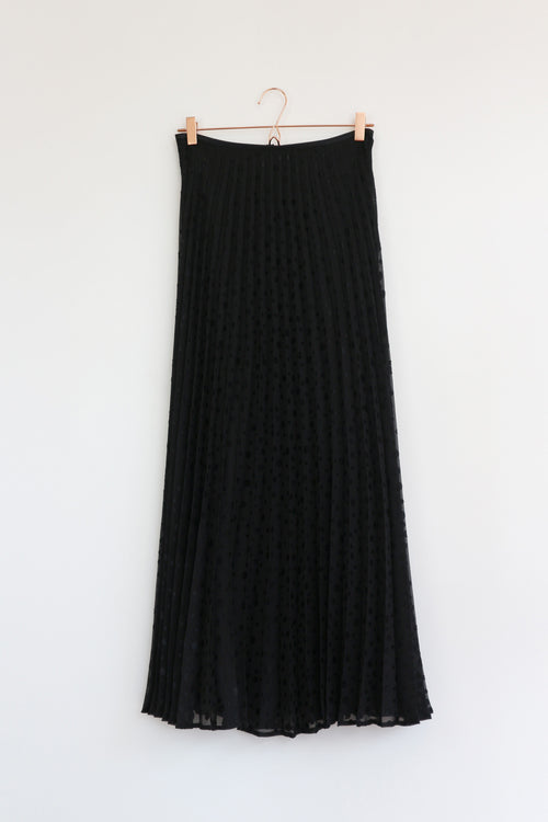 Black Dot Stingray Maxi Pleated Skirt
