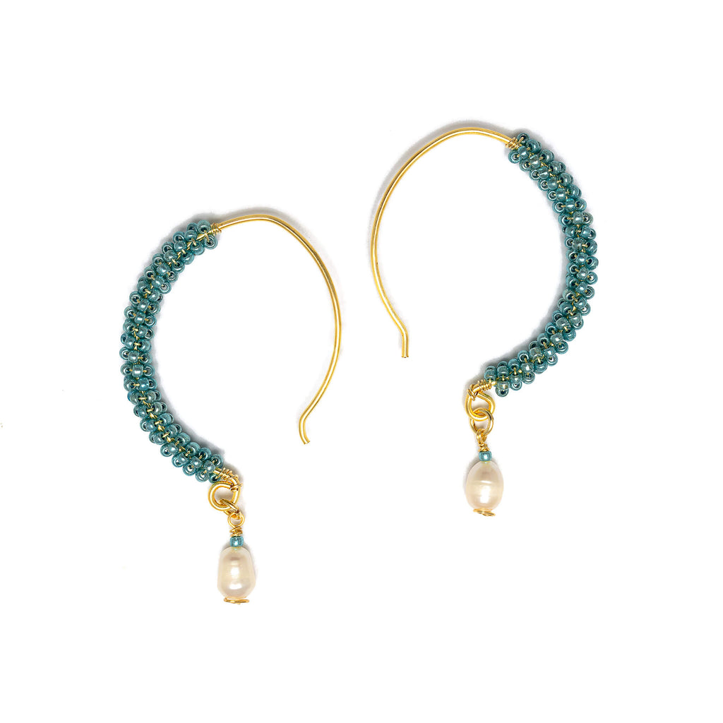 Ancora Gold Hoop Earrings. Gold Color Earrings with Aqua  Seed Beads  Crystals. Wire Wrapped Earrings.