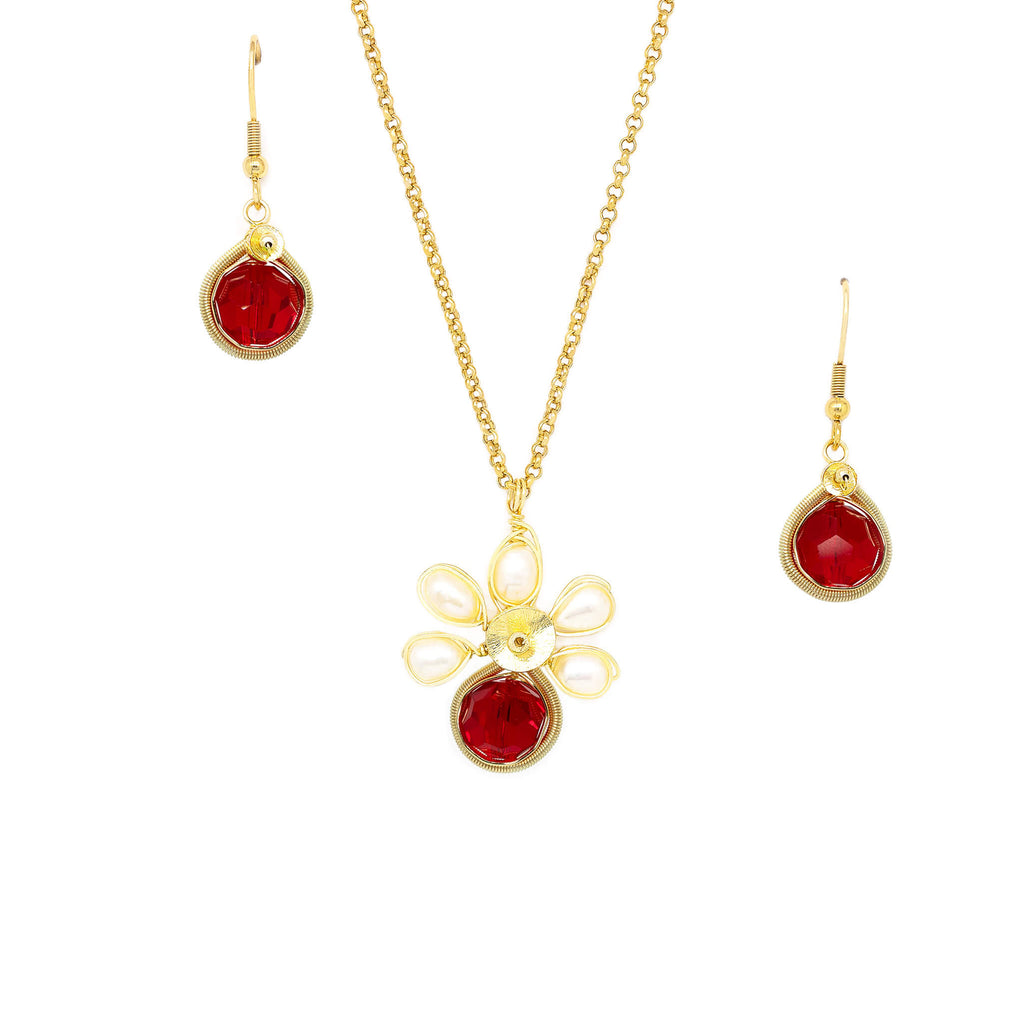 July Birthstone Crystal Necklace.-Earrings Set.  Red Crystals, Fresh Water Pearls  and Gold Set. 22K Gold Plated Chain.