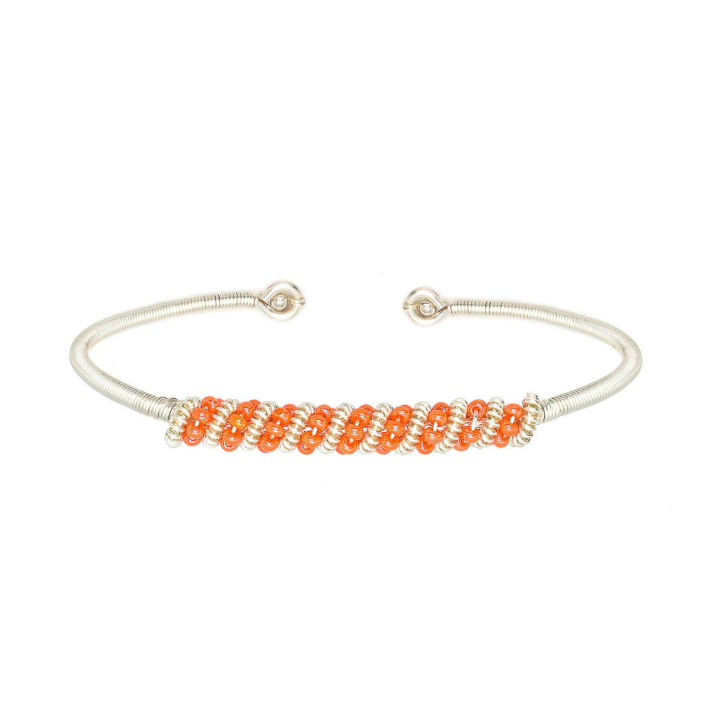 Siegen Silver Bracelet. Silver Color Cuff Bracelet with Orange seed beads crystals. Wire wrapped bracelet.