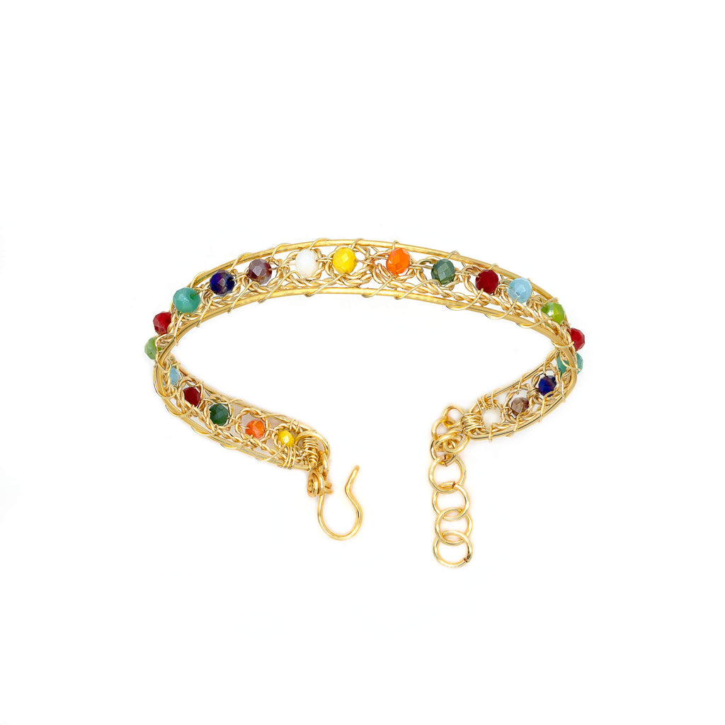 Aurich Bracelet. Gold Color  Bracelet with Multicolor beads crystals. Wire wrapped bracelet.