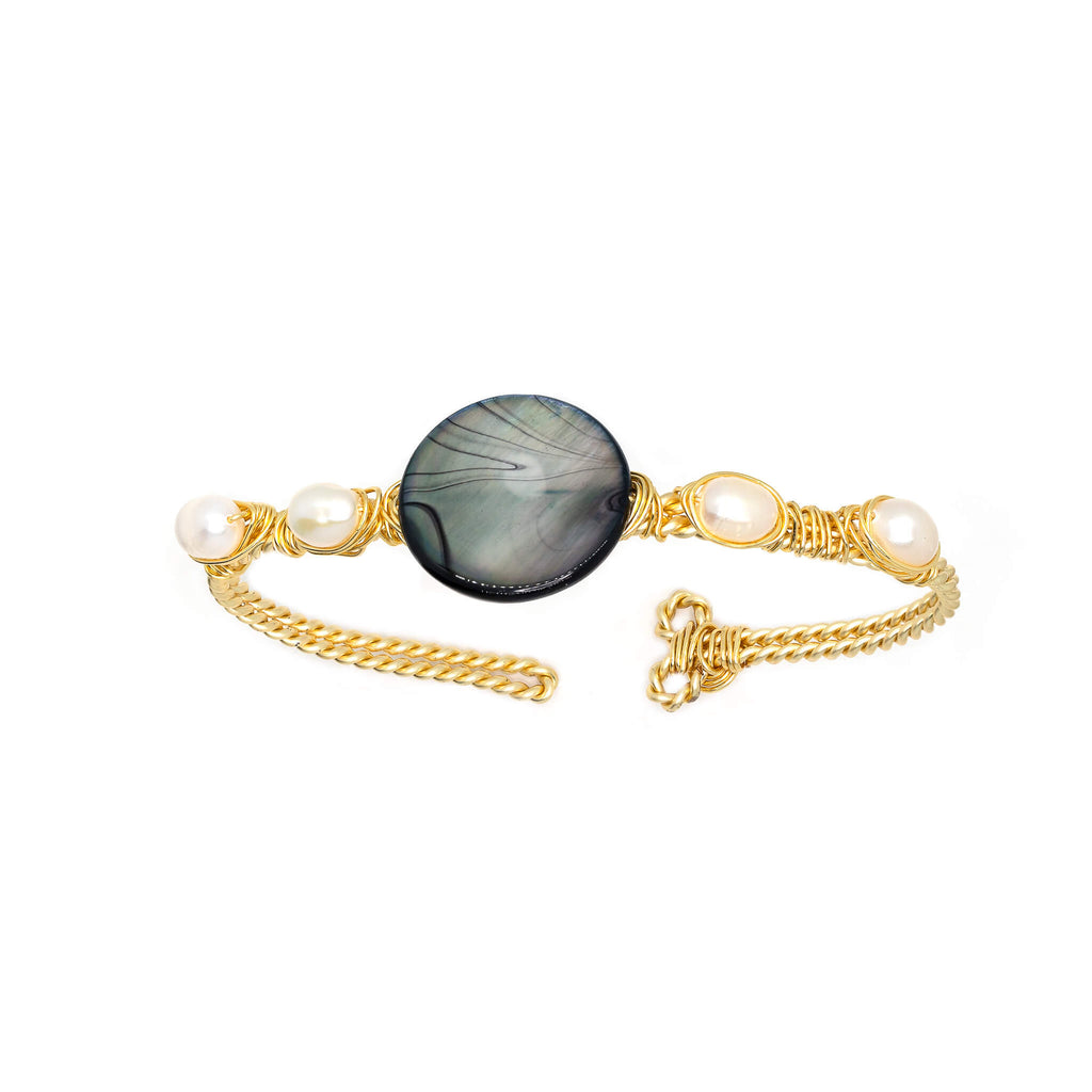 Dorfen Bracelet. Gold Color  Bracelet with Fresh Water Pearls and Mother Pearl Shell. Wire wrapped bracelet.