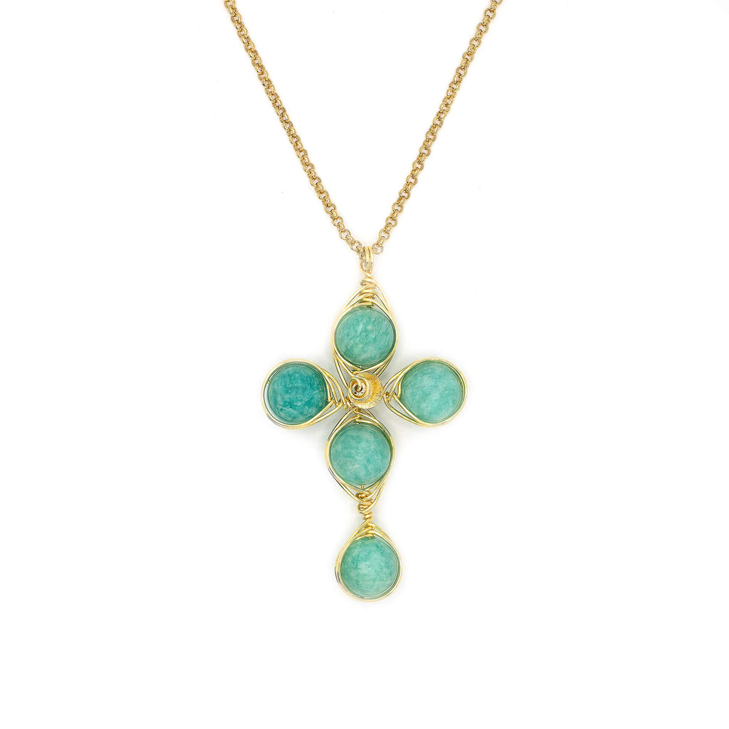 Independence Cross Pendant Necklace. Polished Amazonite Beads and Non Tarnish Gold color wire. Wired Wrapped Cross.