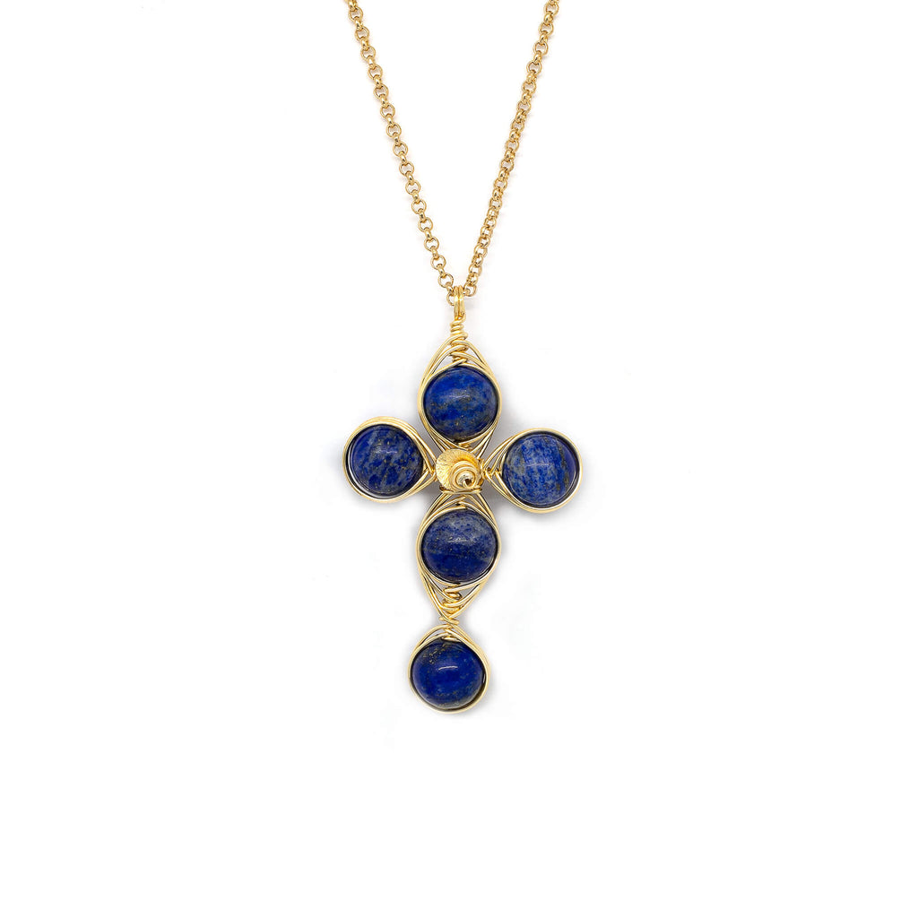 Truth Cross Pendant Necklace. Polished Lapis Lazuli beads and Non Tarnish Gold color wire. Wired Wrapped Cross.
