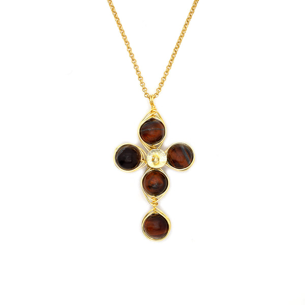 Confidence Cross Pendant Necklace. Polished Red Tigers Eye Beads and Non Tarnish Gold color wire. Wired Wrapped Cross.