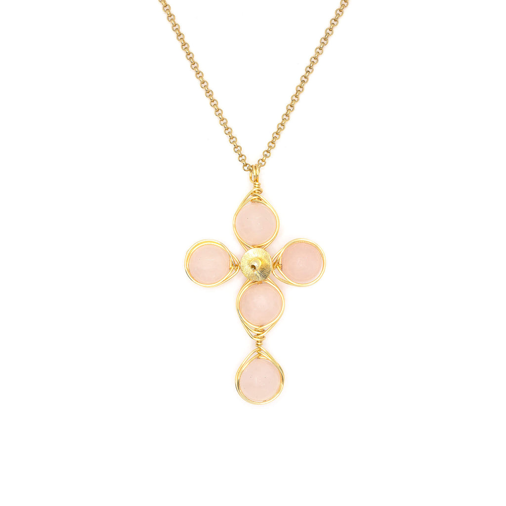 Love Cross Pendant Necklace. Polished Rose Quartz Beads and Non Tarnish Gold color wire. Wired Wrapped Cross.