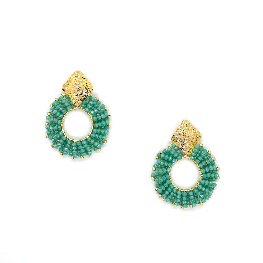 Evry Earrings Emerald Green. Gold Color Earrings with Emerald Green Seed Bead Crystal Beads. Stud Earrings. Seed Beads Work Earrings.