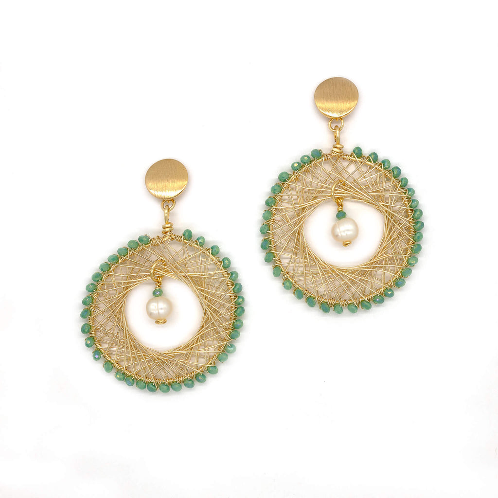 Farida Earrings. Gold Color Earrings with Lime green Crystal Beads. and Fresh Water Pearls. Stud Earrings. Wire Wrapped Earrings.