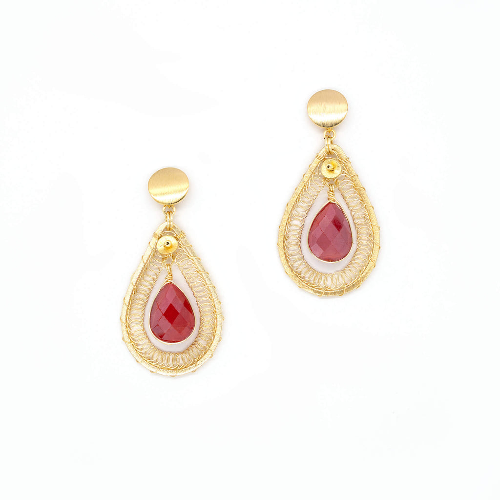 Ganika Earrings. Gold Color Earrings with Red Teardrop Crystal. Dangling Earrings. Metal Frame & Wire Wrapped Earrings. Handcrafted with Non Tarnish Metals.