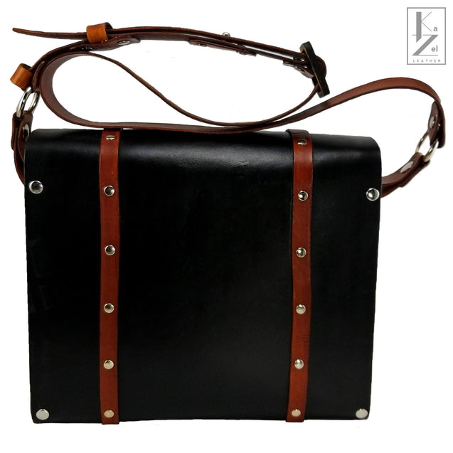 The Gia Satchel Leather and Wood Hand Bag (Back)