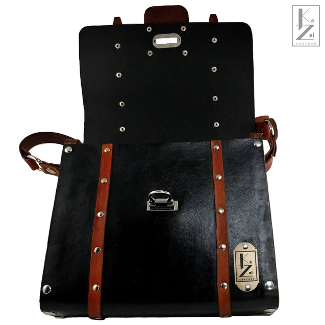 The Gia Satchel Leather and Wood Hand Bag (Open)