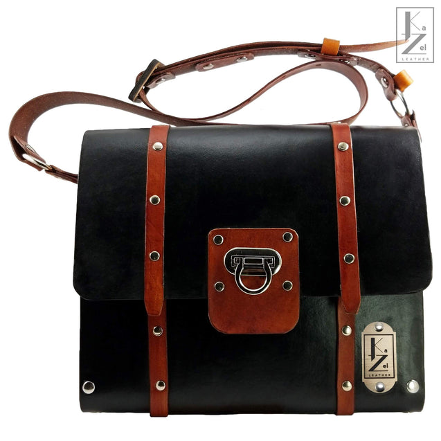 The Gia Satchel Leather and Wood Hand Bag