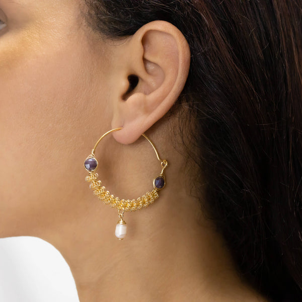 Anzio Hoop Earrings on a model. Gold Color Earrings with brown Crystal Beads and fresh Water Pearl. Wire Wrapped Earrings.