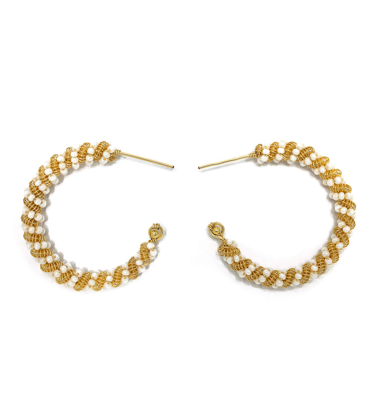 Milan Hoop Earrings. Gold Color Wire with White Czech Seed Bead Crystals.  Wire Wrapped Hoop Earrings.