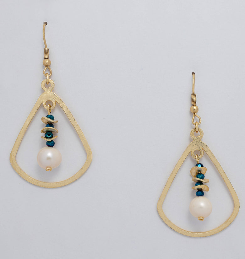 Ladli Earrings. Gold Color Earrings with  Metallic Blue Crystal Beads and Fresh Water Pearl. Stud Earrings. Metal Frame Earrings.