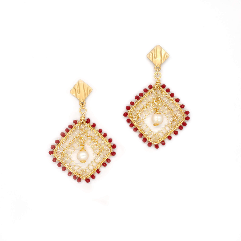 Myra Earrings. Gold Color Earrings with Red Czech Seed Bead Crystals and fresh water pearls. Stud Earrings. Wire Wrapped Earrings
