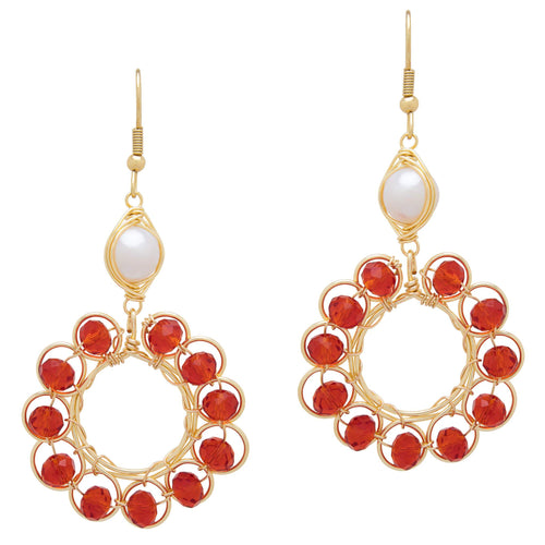 Wire Wrapped Earrings. Made with Non tarnish metals. Red beads, gold wire &fresh water pearl earrings. Kazel Jewelry.