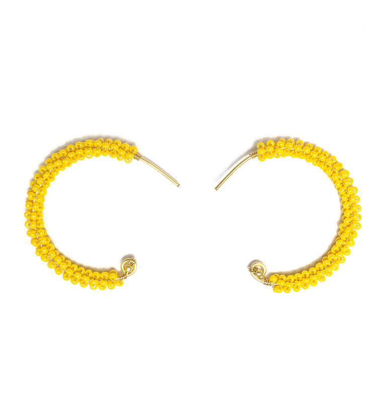 Florence Hoop Earrings Gold. Earrings with Yellow Czech Seed Beads  Crystals. Wire Wrapped Earrings.