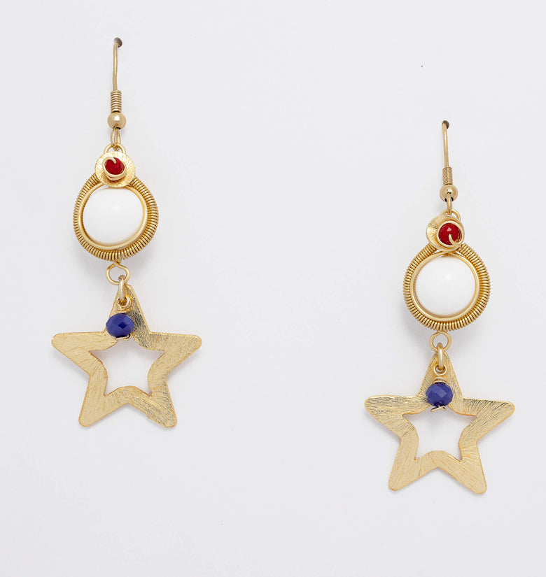 Stars for July Earrings. Gold Color Earrings with Red, White and blue  Beads. Metal Frame & Wire Wrapped Earrings