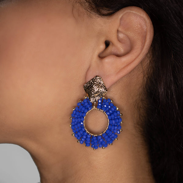 Evry Earrings on a model. Gold Color Earrings with Blue Seed Bead Crystal Beads. Stud Earrings. Seed Beads Work Earrings.