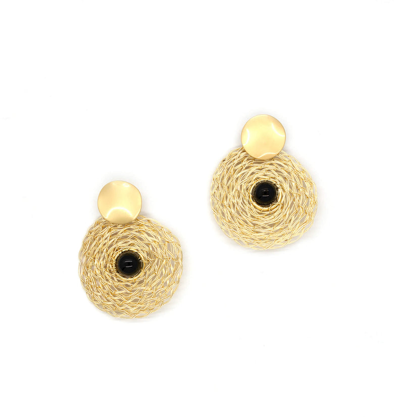 Muret Earrings. Gold Color Earrings with Black Onyx Round Bead. Stud Earrings. Wire Wrapped Earrings.