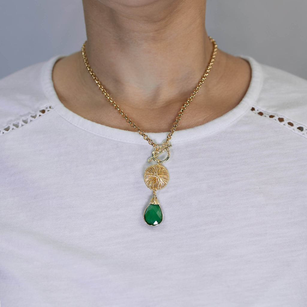 Sunshine Pendant Necklace.. Green Crystals and Gold Necklace. 22K Gold Plated Chain.