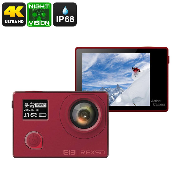 Câmera esportiva elefone REXSO Explorador 4K Ação - Sony IMAX Sensor, Night Vision, IP68, Dual-Display, 4K, 16MP Imagem (Red)-Electro Shop