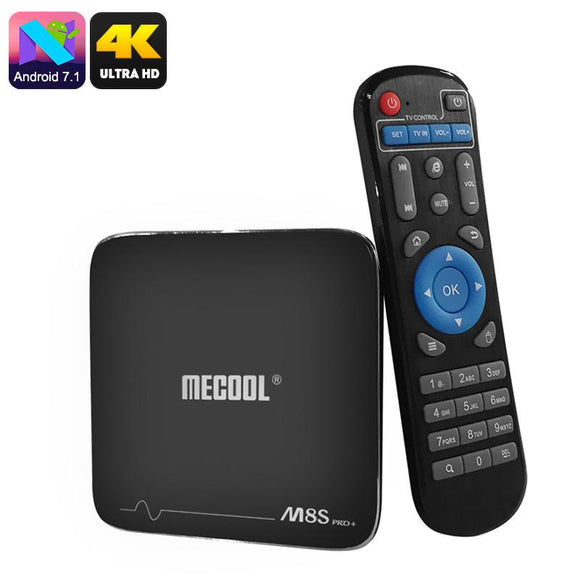 MECOOL M8S Pro Android TV Box - Android 7.1, Quad-Core CPU, 8 GB ROM, cartão SD de 32GB Slot, Suporte 4K, Wi-Fi, DLNA, o Google Play-Electro Shop