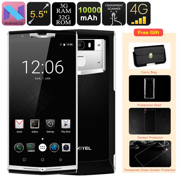SmartPhone HK Armazém Smartphone Android Oukitel K10000 Pro - 10000mAh, Dual-IMEI, 4G, OTG, Android 7.0, Octa-Core CPU, 3GB RAM, 1080p-Electro Shop