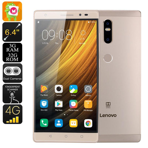SmartPhone Lenovo Phab 2 Plus Smartphone Android - Android 6.0, 6.44 Inch FHD, 2xSIM, 4G, Octa-Core CPU, 3GB RAM, 13MP Dual-Cam (Gold)-Electro Shop