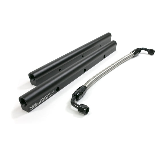 Top Street Performance Fuel Rails - TSP Velocity Billet Aluminum w/ Mid Pipe; LS3, L92, Black